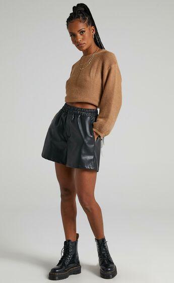 Mia Shorts in Black Leatherette