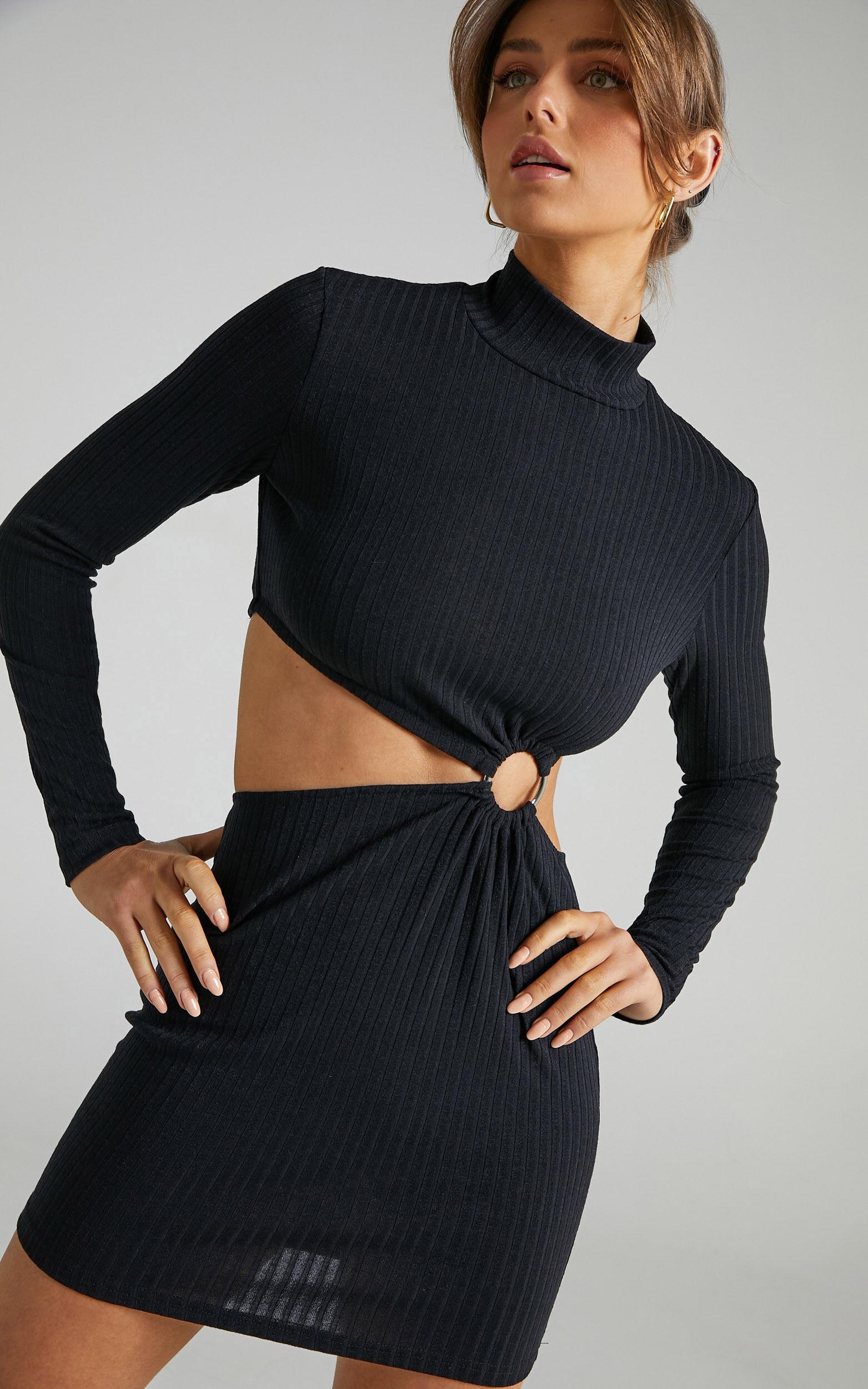 Binda Cut Out Long Sleeve Mini Dress in Black - 06, BLK1, super-hi-res image number null