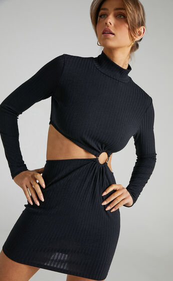 Binda Cut Out Long Sleeve Mini Dress in Black