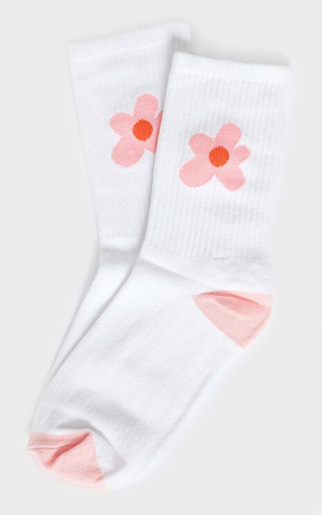 Fashion Footprint Flower Socks in White and Pink