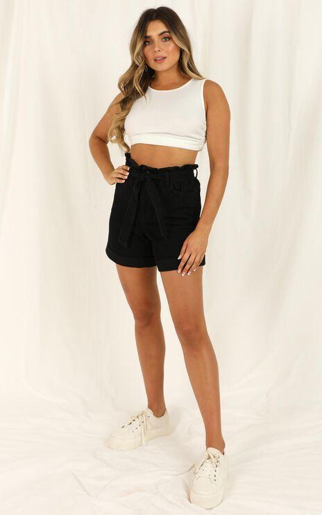 Flip Out Denim Shorts In Black