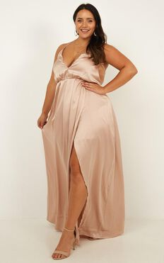 Big Dreams Maxi Dress In Mocha Satin