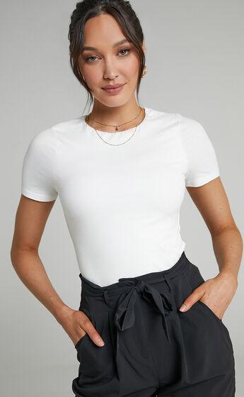 Alexie High Neckline Tshirt in White