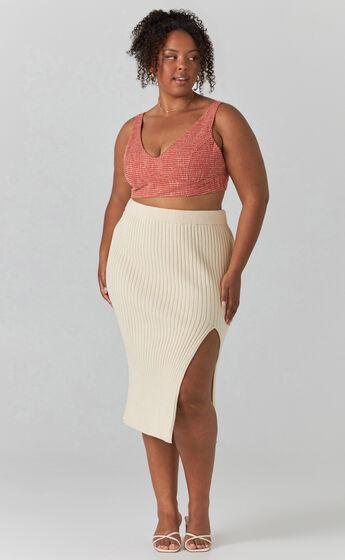Rib Knit Midi Skirt with split in Beige