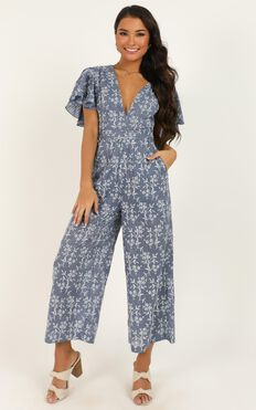 Real Reflections Jumpsuit In Blue Floral