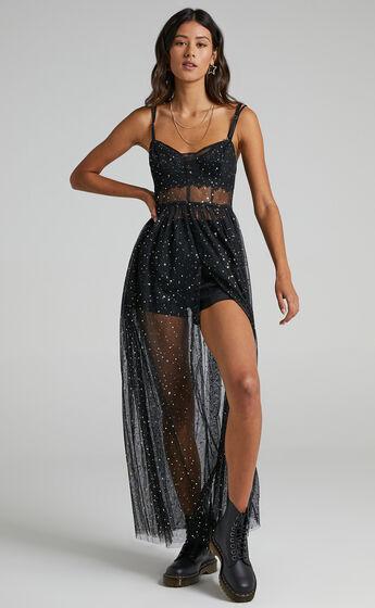 Stunning View Bodice Maxi Dress in Black Mesh