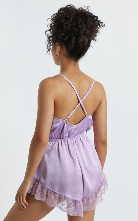 Night After Night Romper in Lilac Satin
