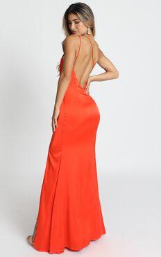Since I Saw You Maxi Dress In Orange Satin