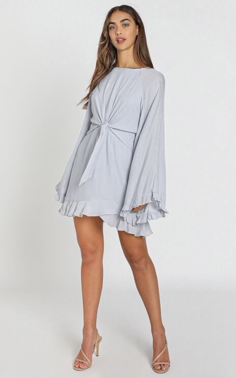Ophelia Tie Front Dress in Grey
