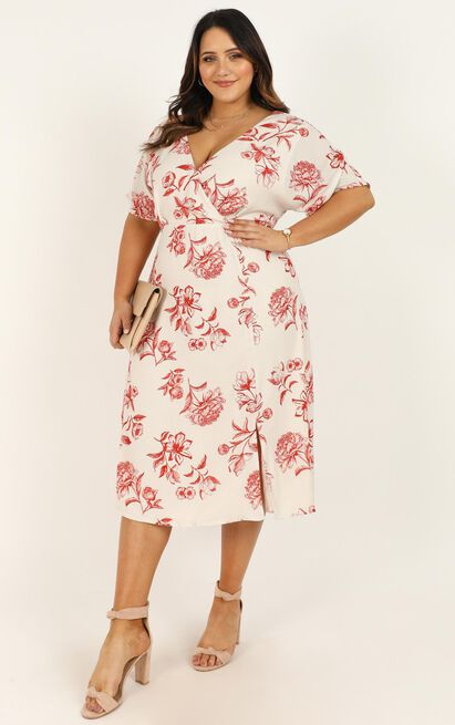 Always Timely Dress in cream floral - 20 (XXXXL), Cream, hi-res image number null