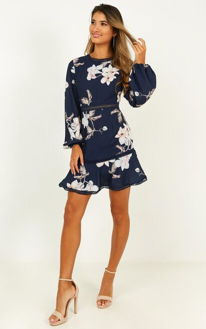 Not Missing Out dress in navy floral - 16 (XXL), Navy, hi-res image number null