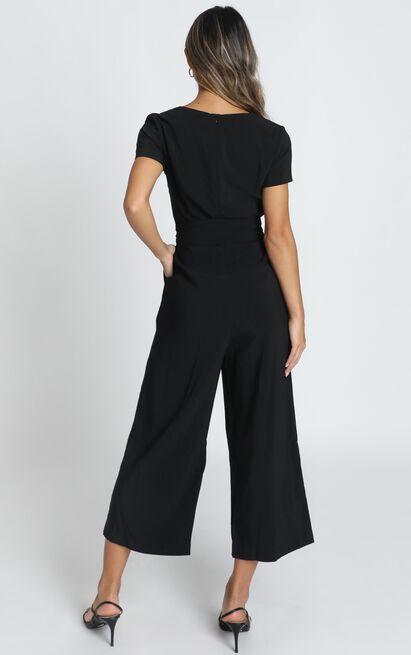 Rosalie Cropped Wide Leg Jumpsuit in black - 12 (L), Black, hi-res image number null