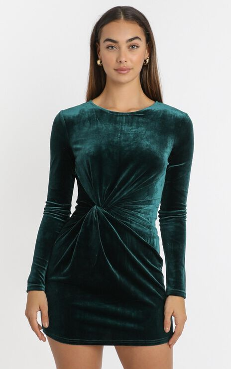 Este Twist Waist Mini Dress in emerald velvet