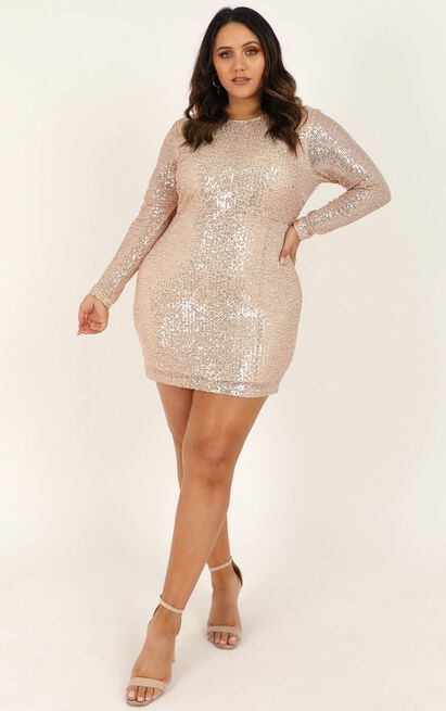 Glitter Feeling Dress in gold sequin - 20 (XXXXL), Gold, hi-res image number null