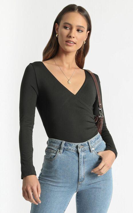 Kristina Longsleeve Bodysuit in Black