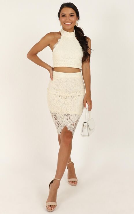 I Own My Heart In Two Piece Set In Cream Lace