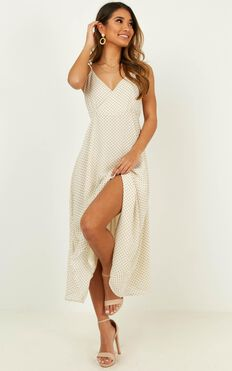 Calling You Baby Dress In Cream Spot