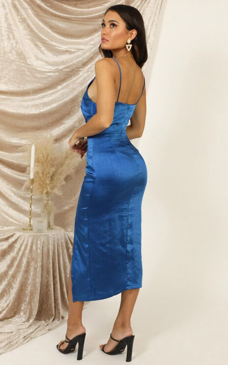 Shake The World Dress In Blue Satin