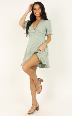 Under Your Influence Dress In Sage