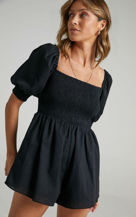 Take Action Playsuit In Black