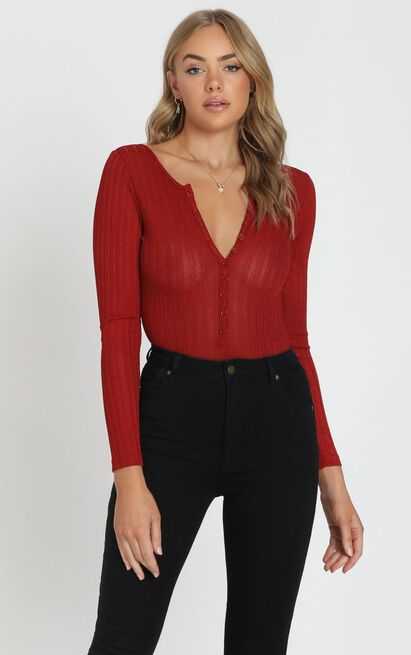 Be That Girl bodysuit in wine - 4 (XXS), Wine, hi-res image number null