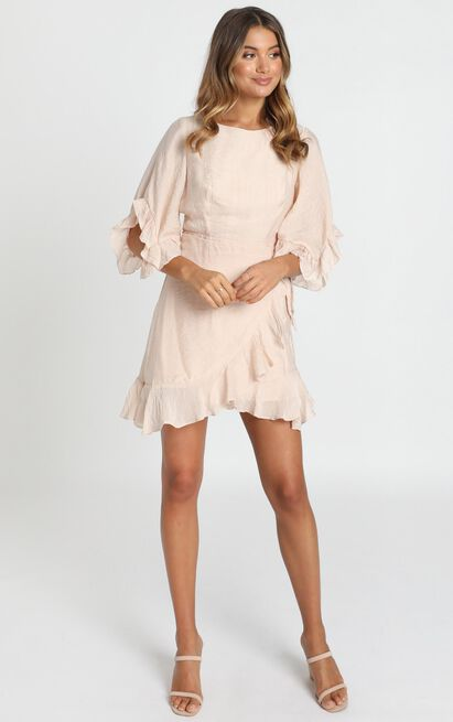 Fleur Crinkle Chiffon Dress in beige - 6 (XS), Beige, hi-res image number null