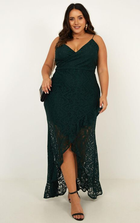 Passionate From Afar Dress In Emerald Lace