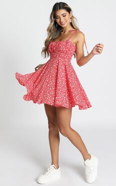 Summer Jam Dress In Red Floral Print
