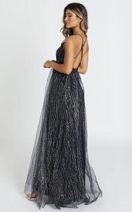 Orlando Maxi Dress In Navy Glitter