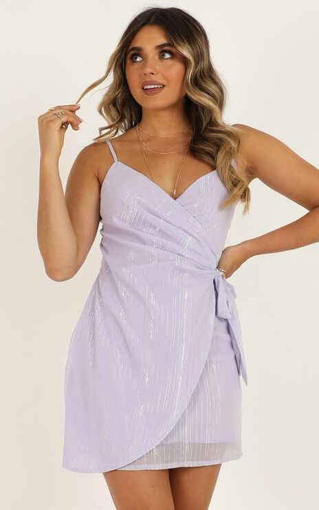 Found By You Dress In Lilac Lurex