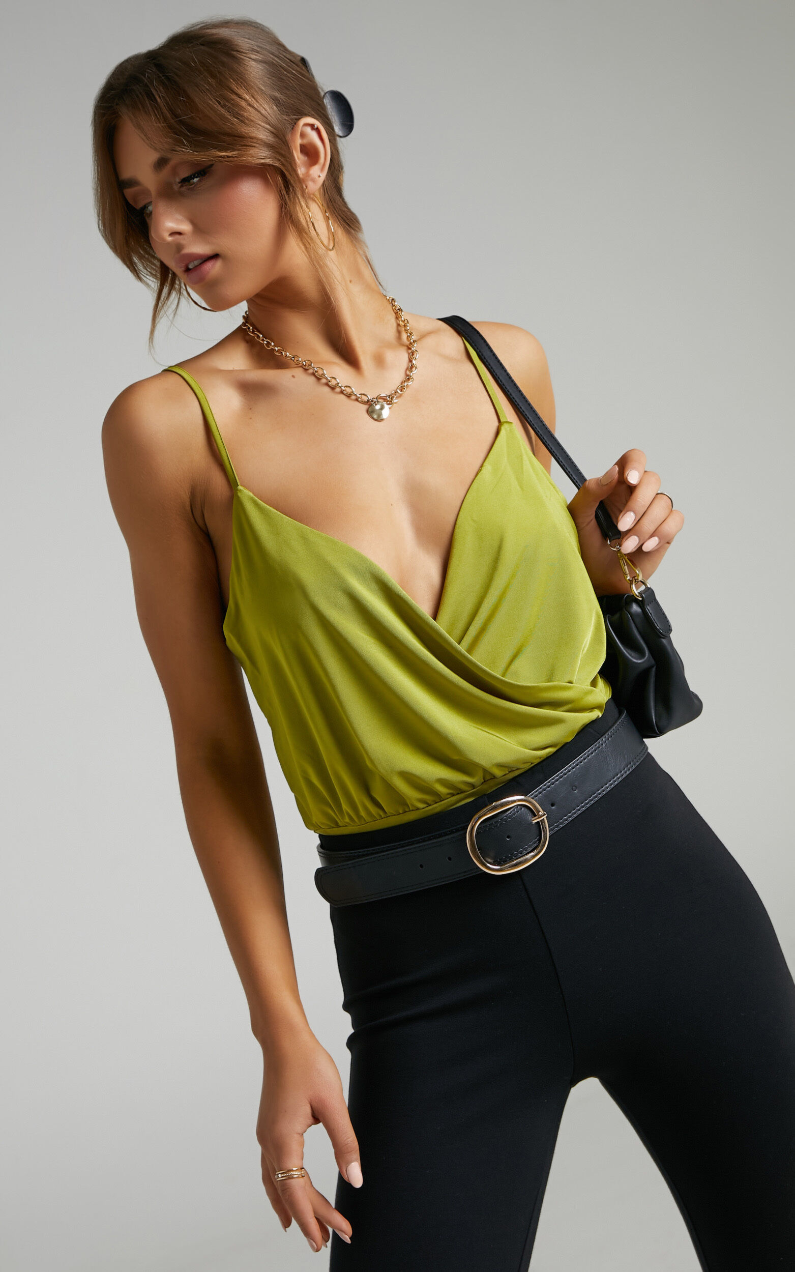 Kiros Wrap Bodysuit in Chartreuse - 06, YEL2, super-hi-res image number null