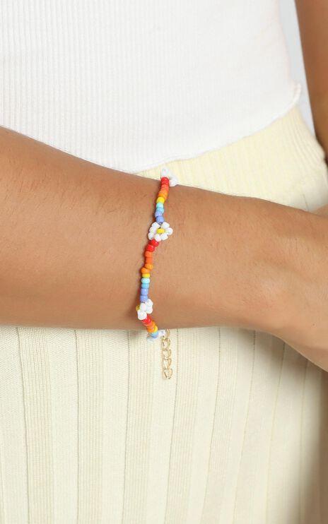 Suzette Beaded Flower Bracelet In Multi Colour