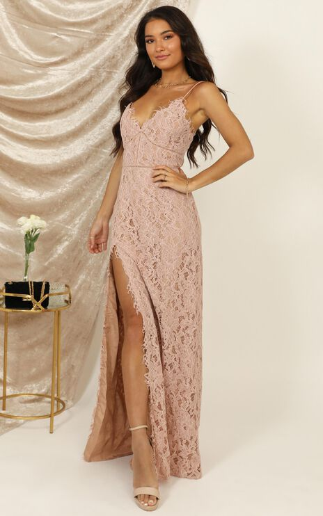 Looking Me Over Dress In Dusty Pink Lace