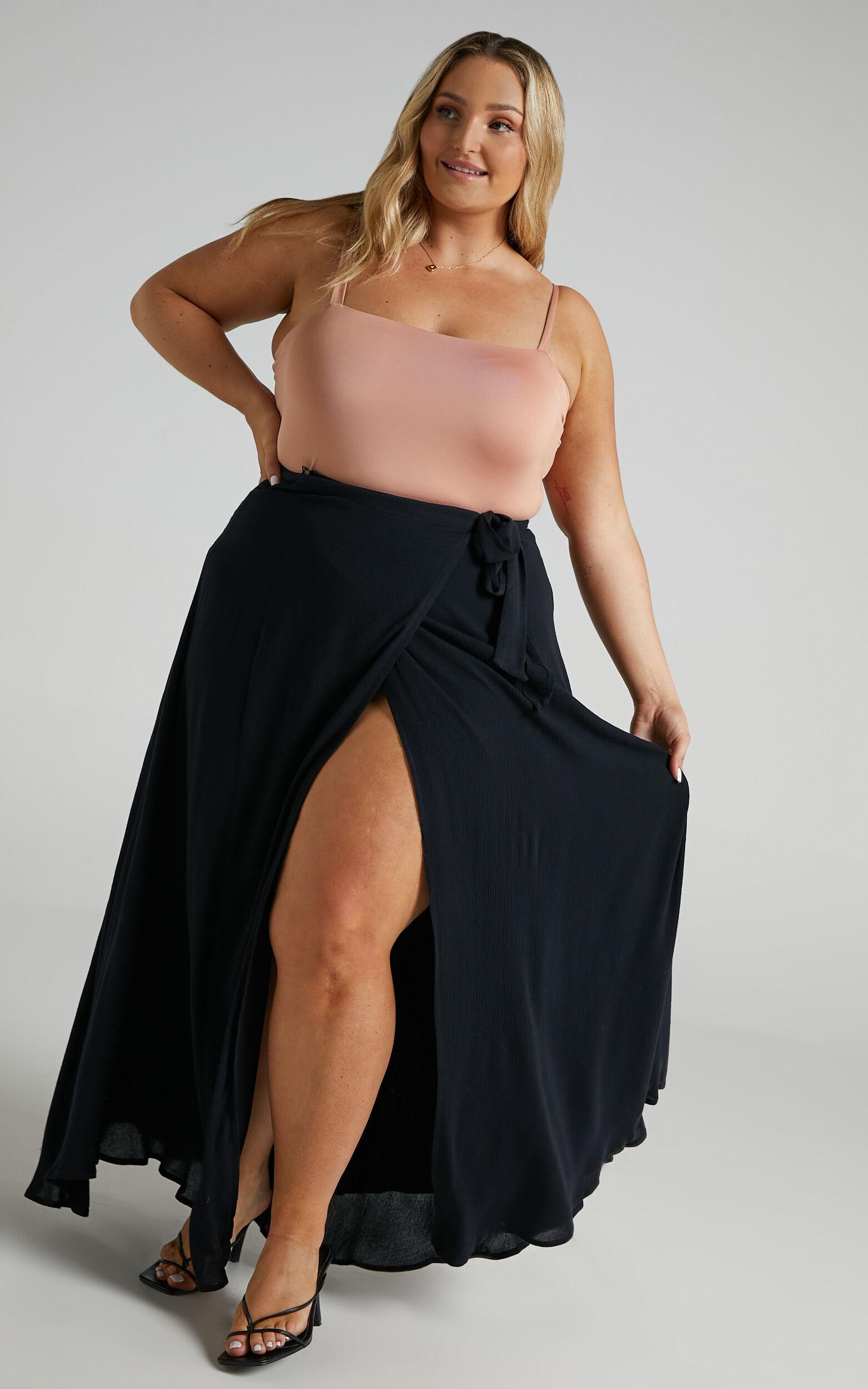 Break A Leg Wrap Thigh Split Maxi Skirt in Black - 06, BLK1, super-hi-res image number null