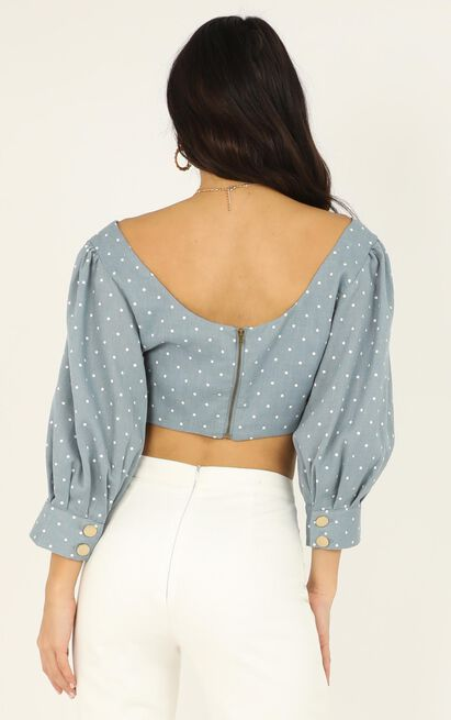 A Deep Breath Top In blue spot - 20 (XXXXL), Blue, hi-res image number null