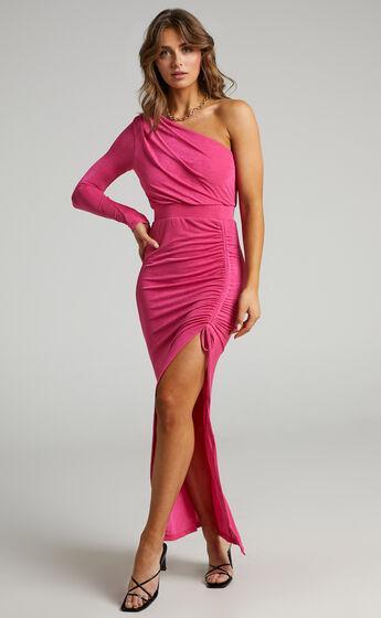 Eleiza One Shoulder Ruched Midi Dress in Hot Pink