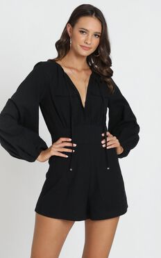 Moroccan Haze Playsuit In Black