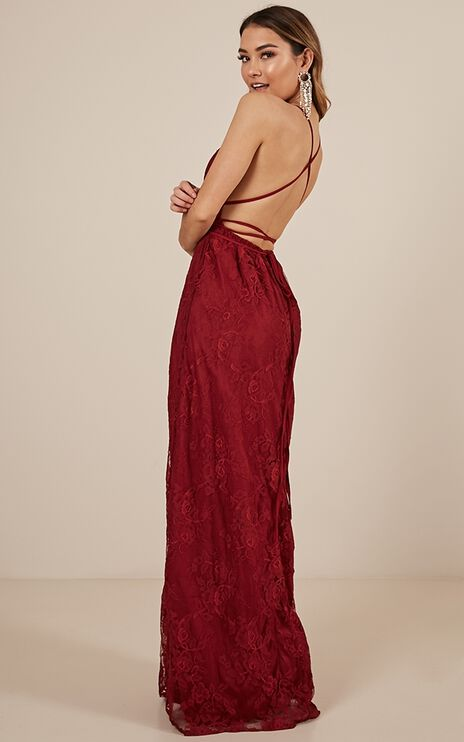 Worlds Apart Dress In Wine Lace