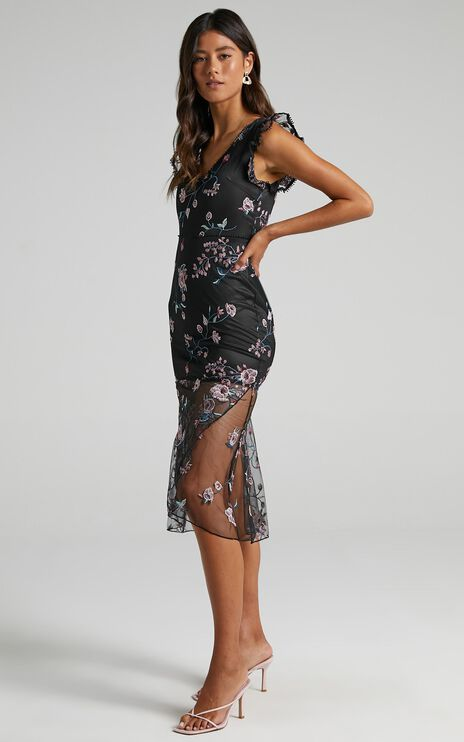 Remember The Days Dress In Black Embroidery
