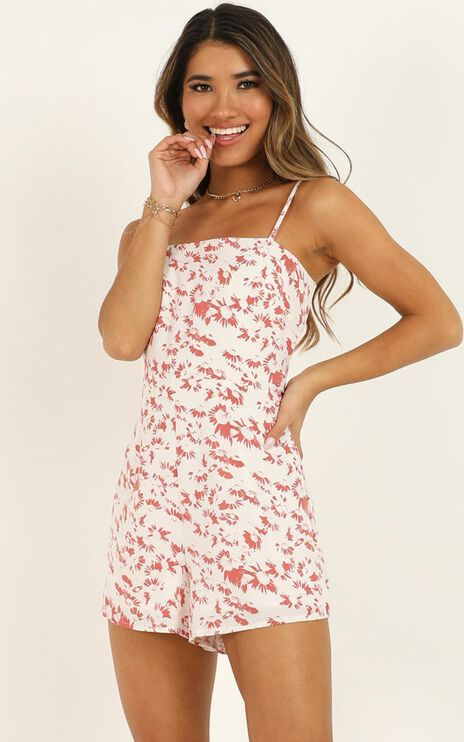Evening Frills Playsuit In White Floral