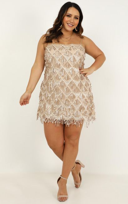 Shook dress in champagne sequin - 20 (XXXXL), Beige, hi-res image number null
