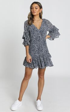 Erica Dress in Navy Floral