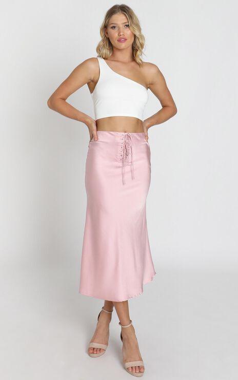Winona Skirt In Dusty Rose Satin