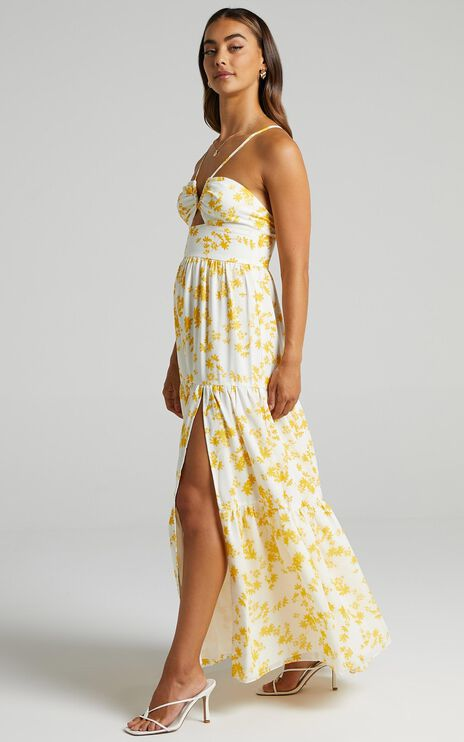 Kahrissa Strappy Maxi Dress in Yellow Floral