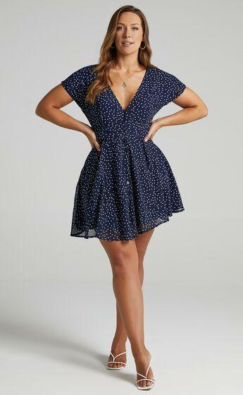 Hey Now A-line Mini Dress in Navy Spot