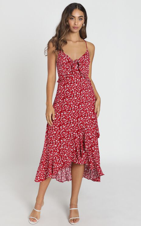 Chelsea Tie Front Midi Dress in Red Floral