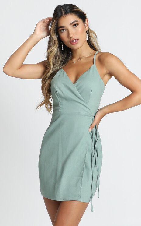 Whisper it Dress In Sage Linen Look