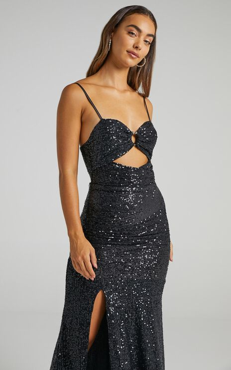 Vee Vee Sequin Maxi Dress in Black Sequin