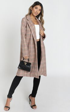 State Of Grace Coat In Mocha Check