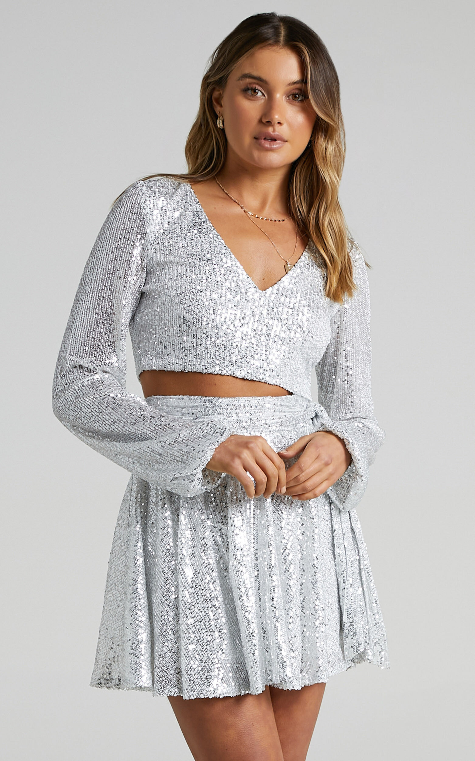 Cami Longsleeve Two Piece Set in Silver Sequin - 06, SLV2, super-hi-res image number null
